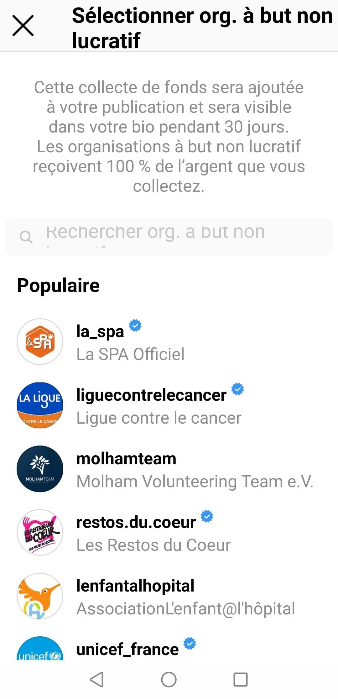 Ajouter une collecte de fonds sur instagram - etape 2