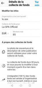 Ajouter une collecte de fonds sur instagram - etape 3